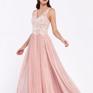 V-Neckine Jeweled Long Prom Dress CDCJ528